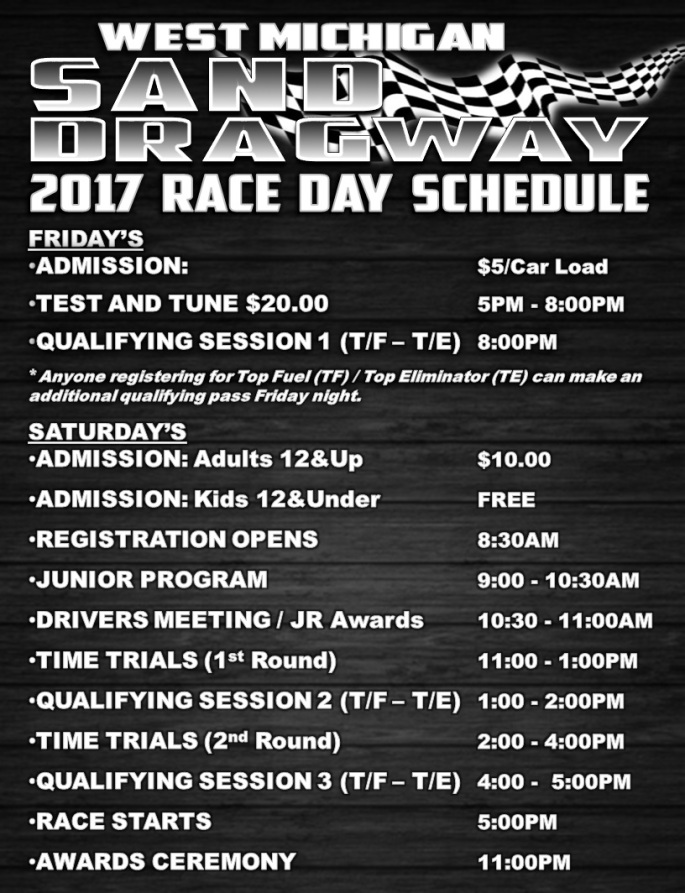 WMSD 2017 Race Day Schedule