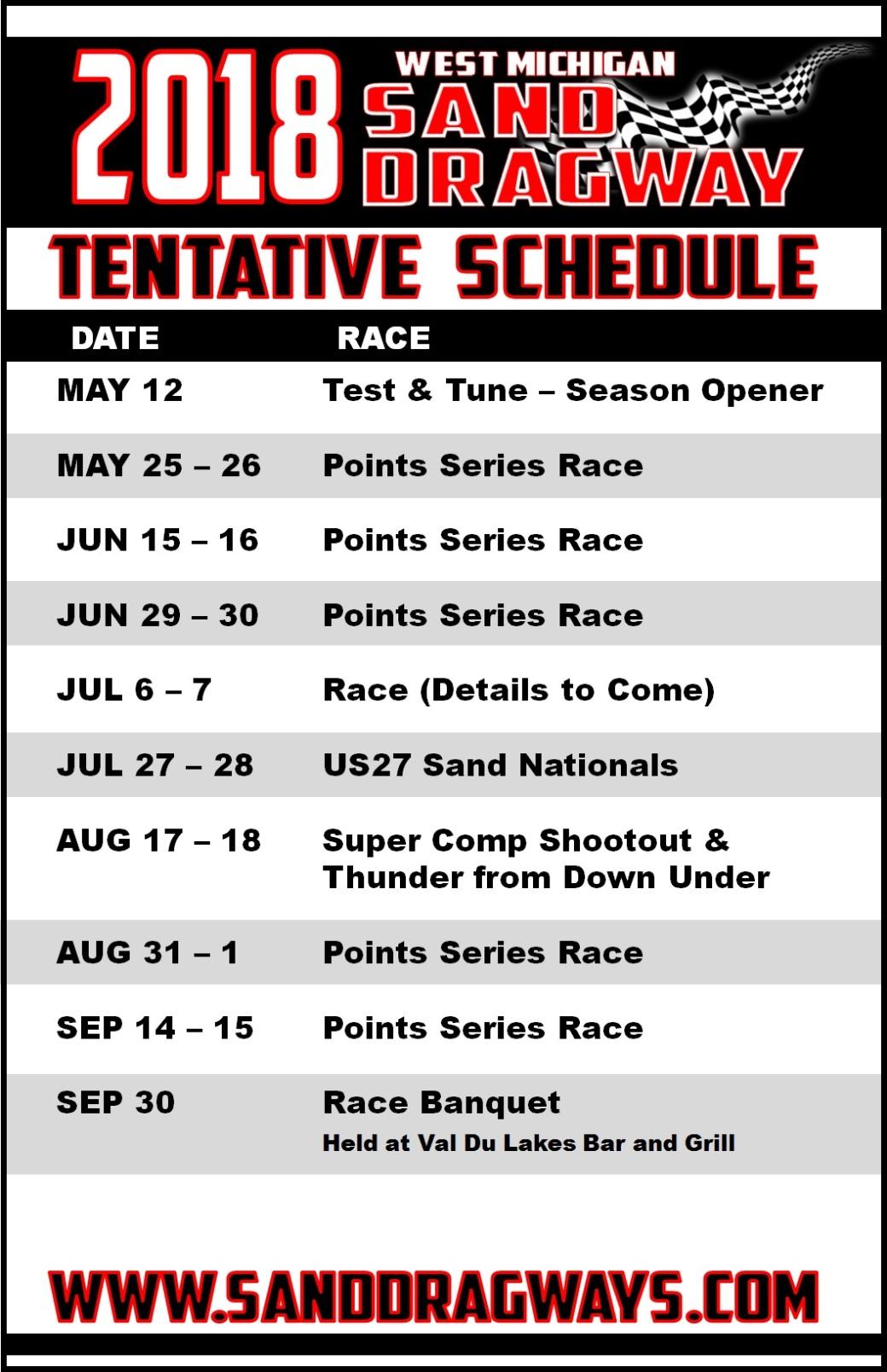 2018 WMSD Tentative Schedule